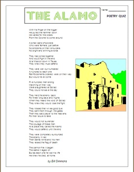 The Texas Alamo- Poem and Quiz