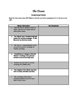 Worksheets Paraphrasing Worksheets paraphrasing worksheets rosa parks and student centered