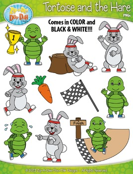 The Tortoise and The Hare Famous Fables Clip Art Set — Inc