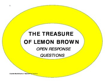 The Treasure of Lemon Brown  - Comprehension Questions and