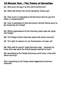 The Treaty of Versailles - 10 Minute Test