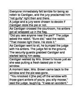 The Trial of Cardigan Jones Sequencing Sentences
