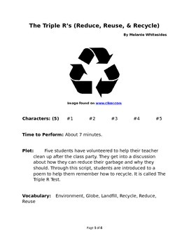 The Triple R's (Reduce, Reuse, and Recycle) - Small Group