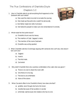 The True Confessions of Charlotte Doyle - Quiz on ch. 1-2