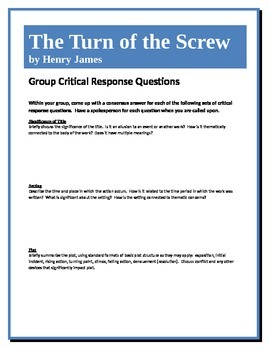 The Turn of the Screw - James - Group Critical Response Questions