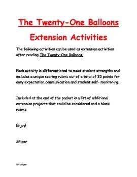 The Twenty-One Balloons - Extension Activities
