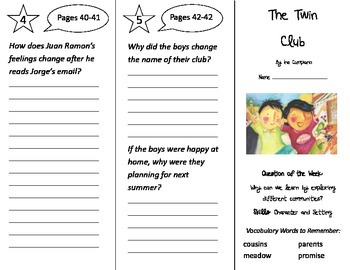 The Twin Club Trifold - Reading Street 2nd Grade Unit 1 Week 1