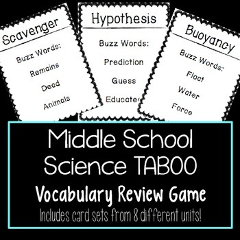Science Vocabulary Taboo Game BUNDLE