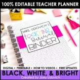 Editable Teacher Binder: Black & White With Pops of Color