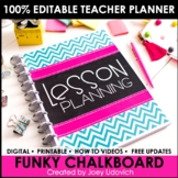 Editable Teacher Binder: Funky Chalkboard Theme {FREE UPDATES}