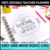 Editable Teacher Binder: Grey & White Chevron with Pops of