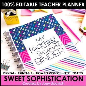 Editable Teacher Binder: Sweet Sophistication Theme {FREE