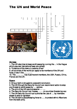 The UN and World Peace Crossword