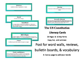 The US Constitution Common Core Aligned Literacy Cards 26
