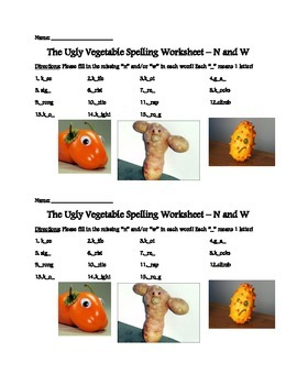 The Ugly Vegetable Spelling Practice!