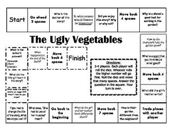 """""""The Ugly Vegetables"""" 2nd grade Journeys comprehension game board"""