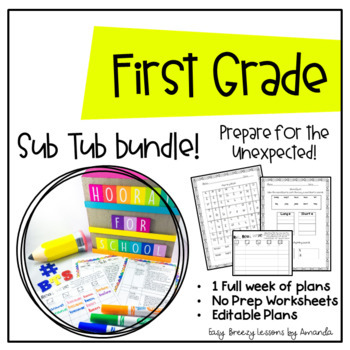 First Grade Sub Tub Ultimate Bundle (1 Week of Plans Ready