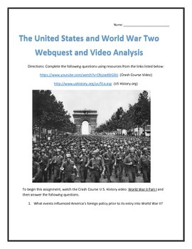 The United States and World War Two- Webquest and Video An
