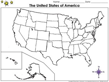 The United States of America Map - Blank - Full Page - Kin