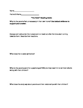 """""""The Veldt"""" Higher Level Thinking Questions"""