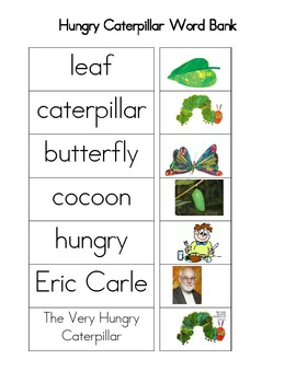 The Very Hungry Caterpillar Word Bank: Black & White and Color