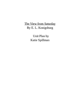 The View from Saturday by E. L. Konigsburg Unit Plan - Com