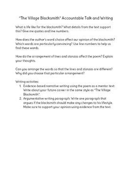 The Village Blacksmith Accountable Talk and Writing Activities