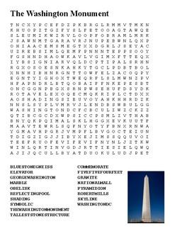 The Washington Mounument Word Search