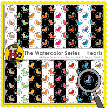 The Watercolor Series | Hearts {Papers for Commercial Use}