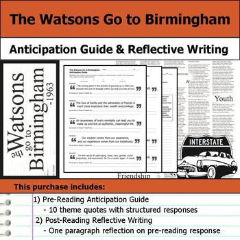 The Watsons Go to Birmingham - Anticipation Guide & Reflection