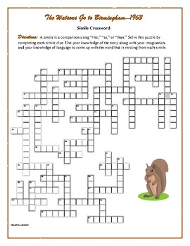 The Watsons Go to Birmingham—1963: Simile Crossword—Fun!