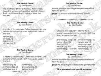 Novel Study: The Westing Game (Vocab & Comprehension Q's)