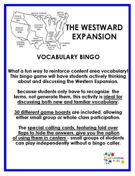 The Westward Expansion Vocabulary Bingo