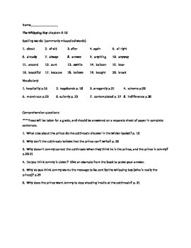 The Whipping Boy study guide chapters 6-10