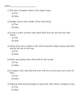 The Wind in the Willows Ch. 3 Quiz