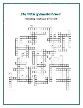 The Witch of Blackbird Pond: 50-word Prereading Vocab Crossword