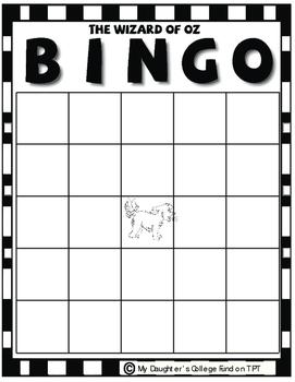 The Wizard of OZ Bingo Game