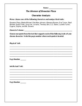 The Women of Brewster Place Character Analysis Packet - Gl