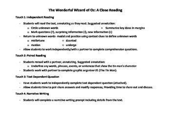 The Wonderful Wizard of Oz: Close Reading