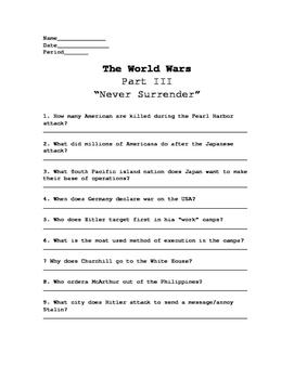 The World Wars Pt. 3 Video Worksheet