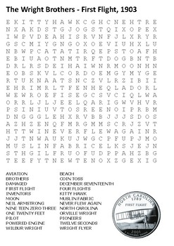 The Wright Brothers - First Flight, 1903 Word Search
