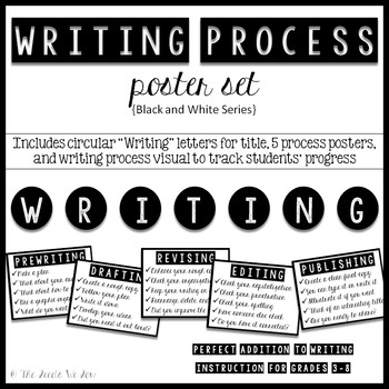 Writing Process Posters {Black and White}