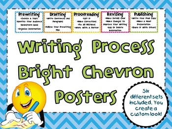 The Writing Process Posters-Bright Chevron
