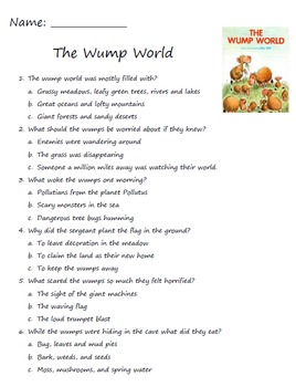 The Wump World By Bill Peet Comprehension reading questions