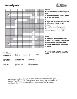 The Year of Miss Agnes Vocabulary Crossword Puzzle