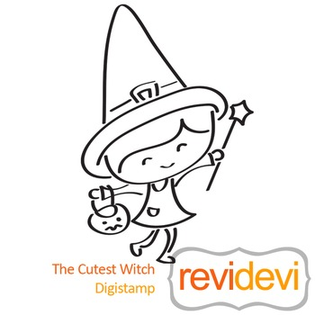 Line art - The cutest witch (digital stamp, coloring image