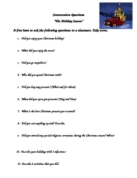 The holiday season conversation questions and writing task