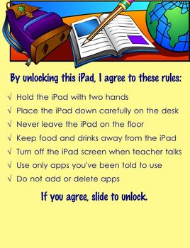 The iPad Rules Lock Screen for Elementary Students