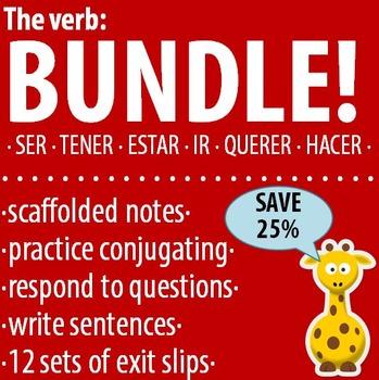 Spanish 1 - The verb: BUNDLE #1 - Ser, Tener, Estar, Ir, Q