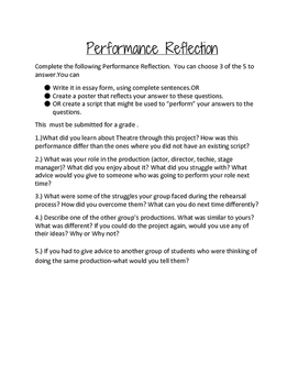 Theatre/Drama Performance Reflection